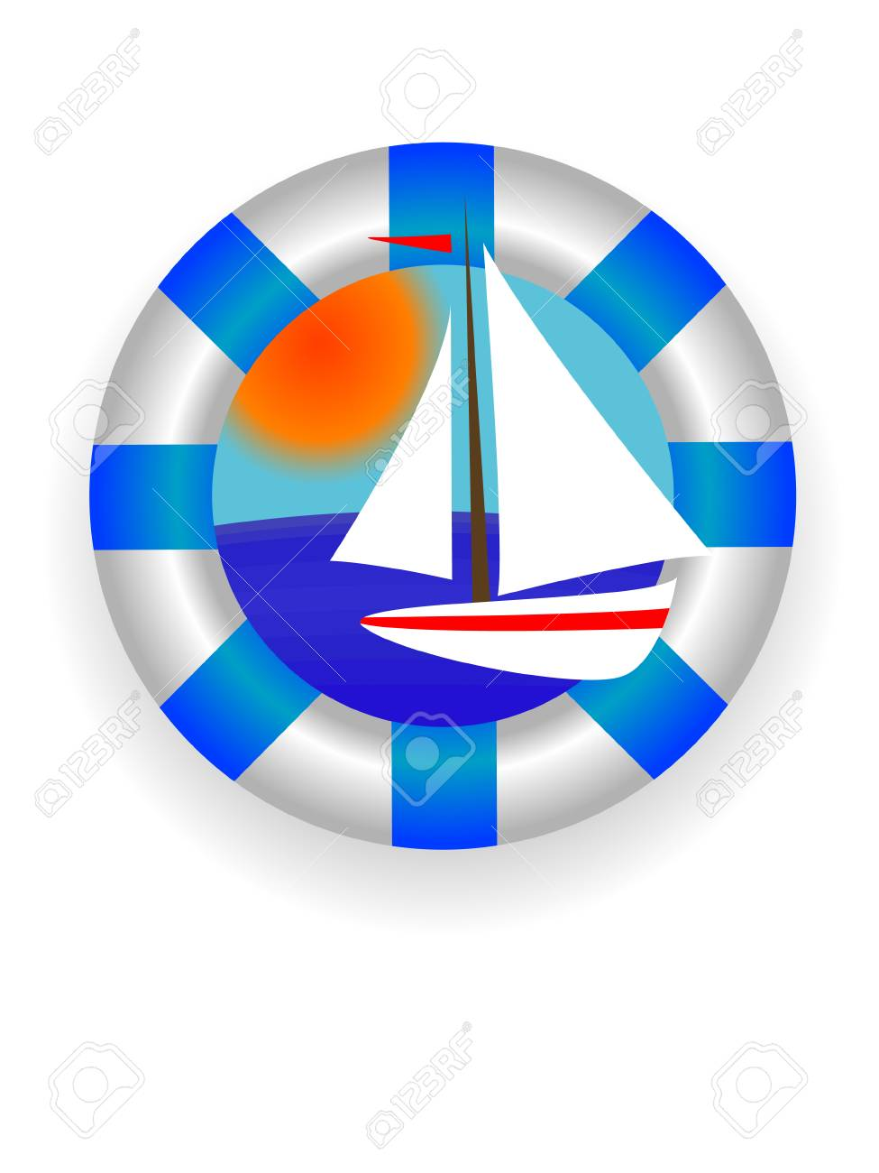 Emblem - a sea lifebuoy ring with a yacht in a vector Stock Vector - 3205883