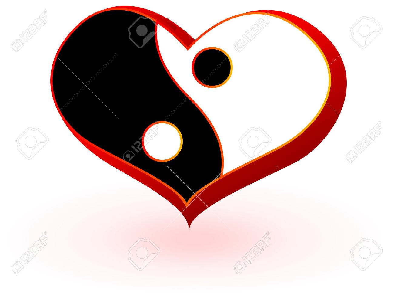 Symbol of heart with the Chinese symbolics of the man's and female beginning in a vector yin and yang Stock Vector - 6178314