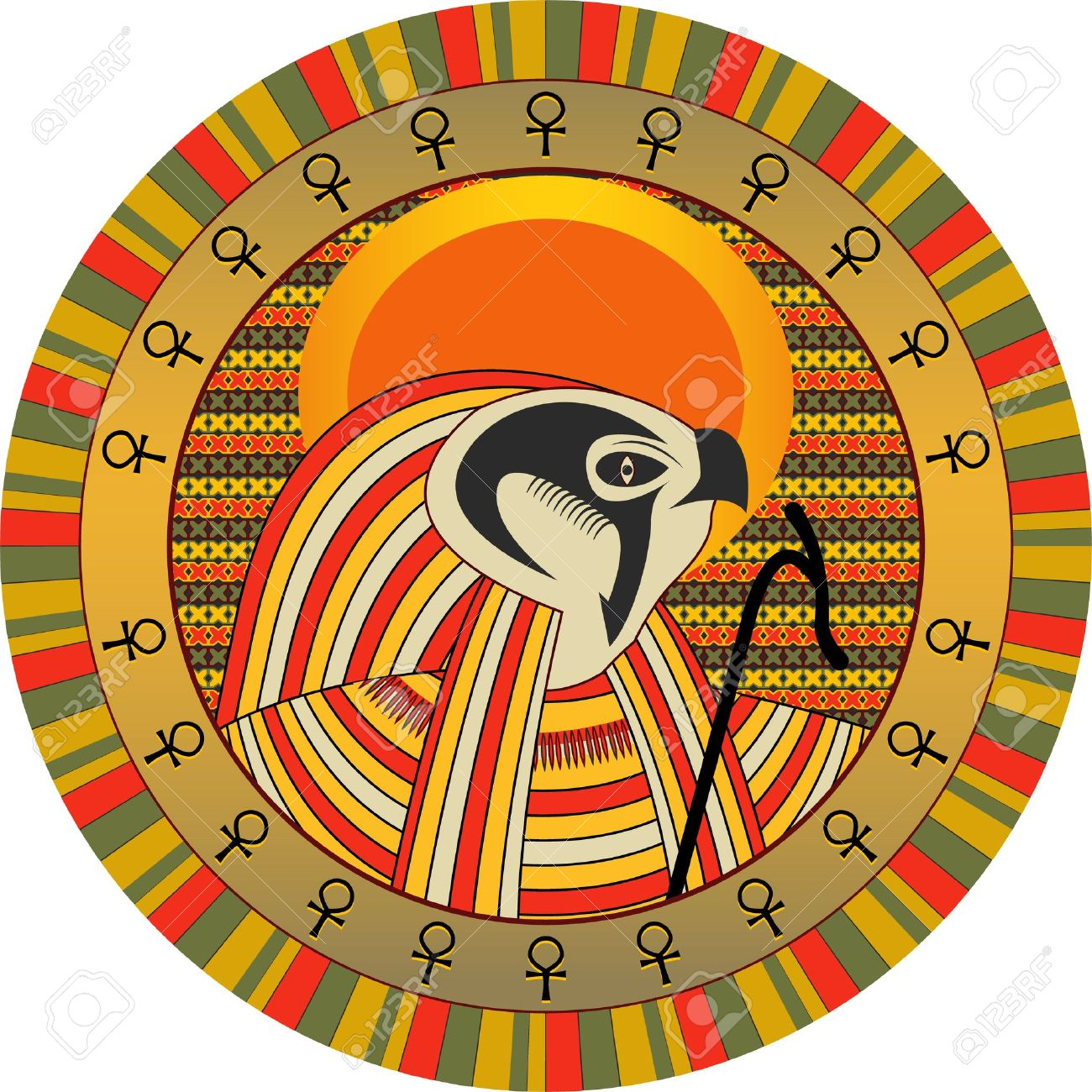 Background the Egyptian god of sun Ra in a vector Stock Vector - 9484257