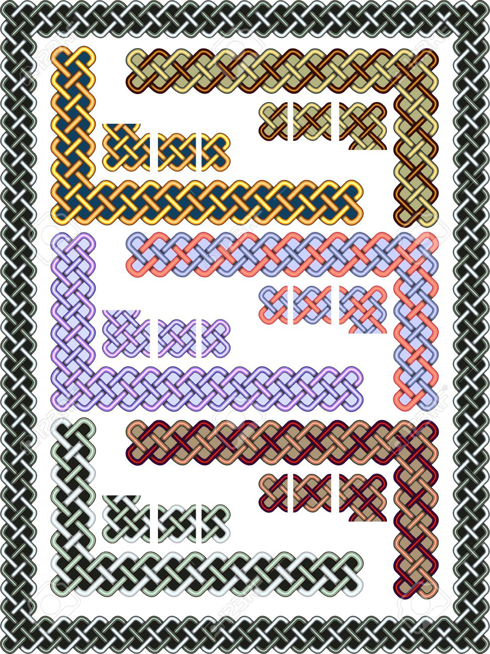 Set celtic patterns for a frame in a vector Stock Vector - 9896634