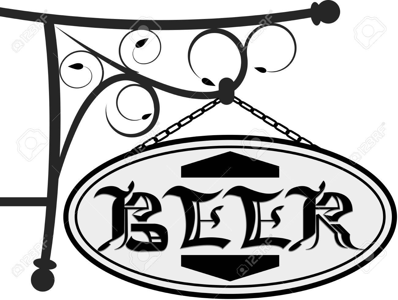 Ancient street signboard for beer in a vector Stock Vector - 10322165