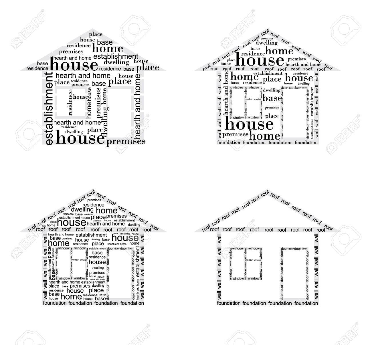 Image of a house made up of words in different ways Stock Vector - 17638812