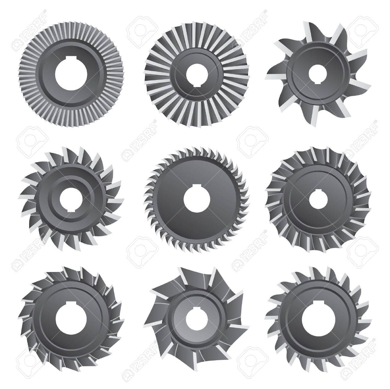 Milling cutters for metal on a white background Stock Vector - 18287830