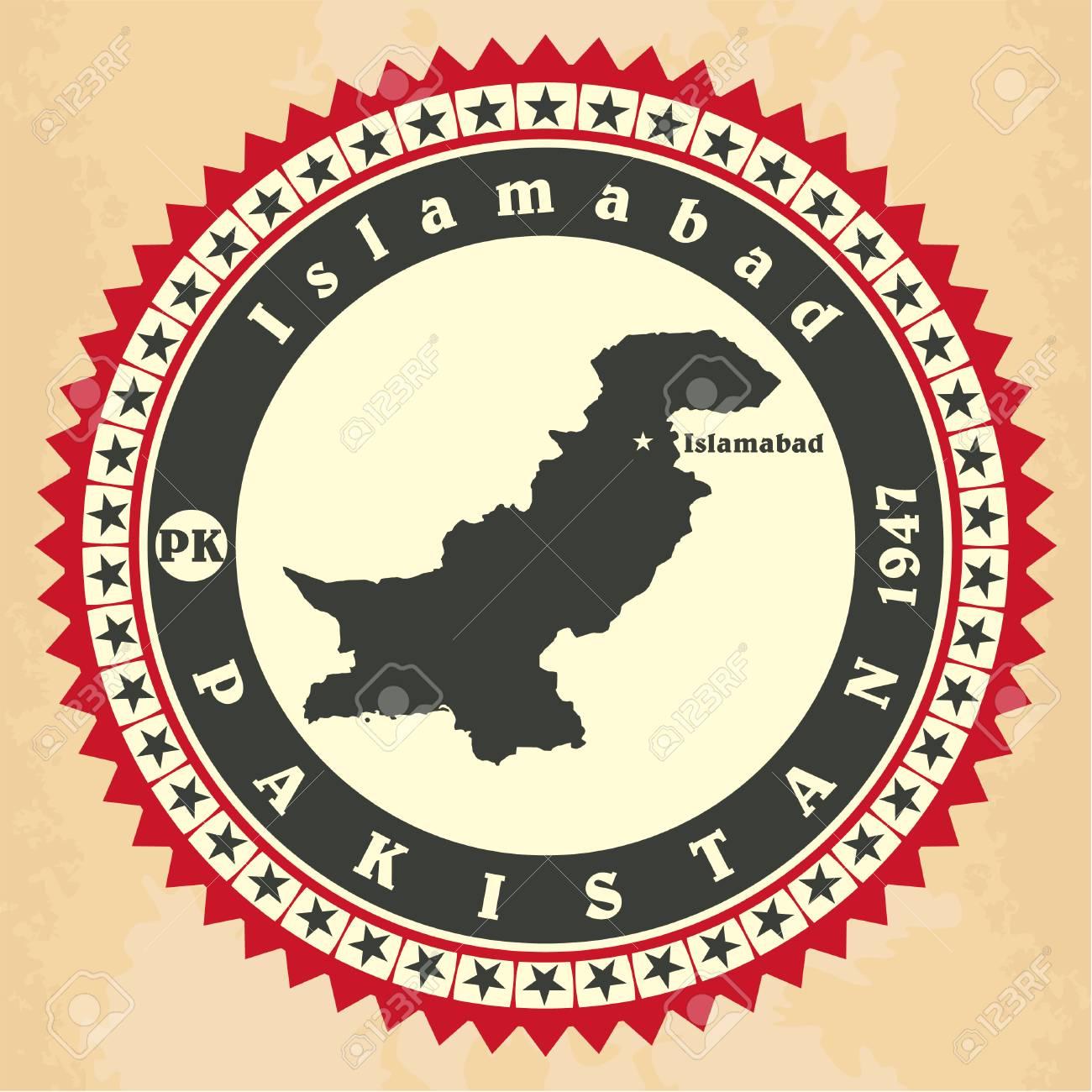Vintage label-sticker cards of Pakistan Stock Vector - 28023595