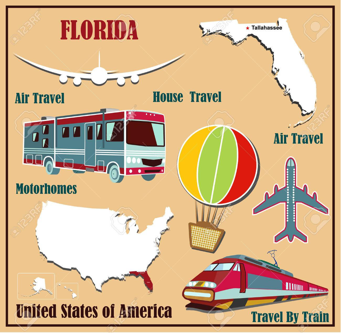 Flat Map Of Florida In The US For Air Travel By Car And Train - Flat us map