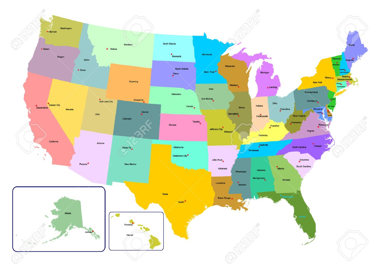 Colorful USA Map With States And Capital Cities Vector - Us map with cities and capitals
