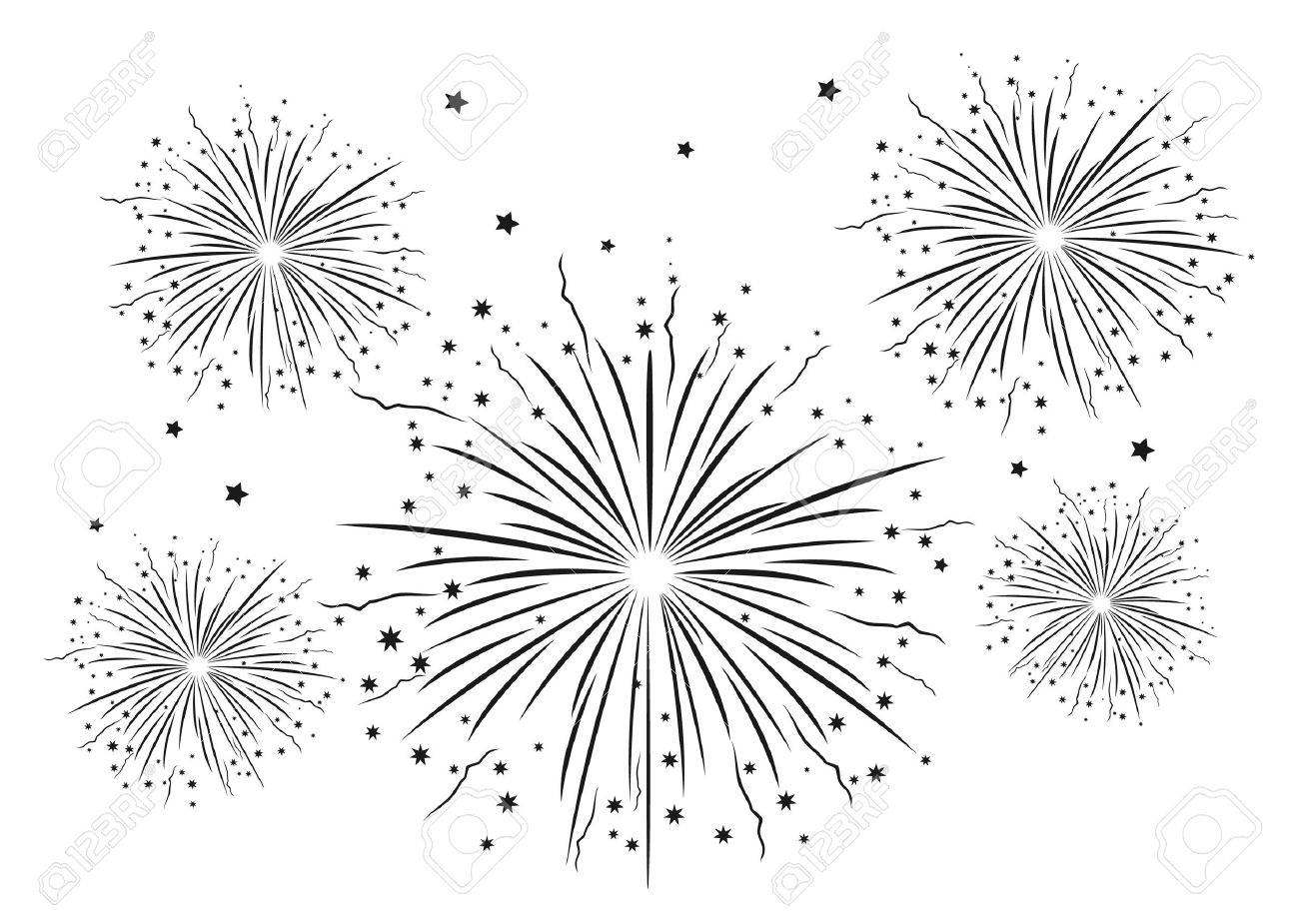 Fuegos Artificiales En Blanco Y Negro Ilustracion Vectorial