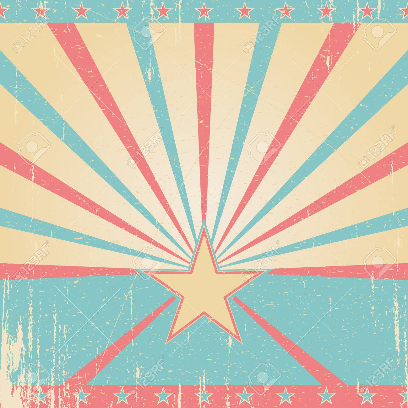 Textured pink blue retro background  Vintage poster with star