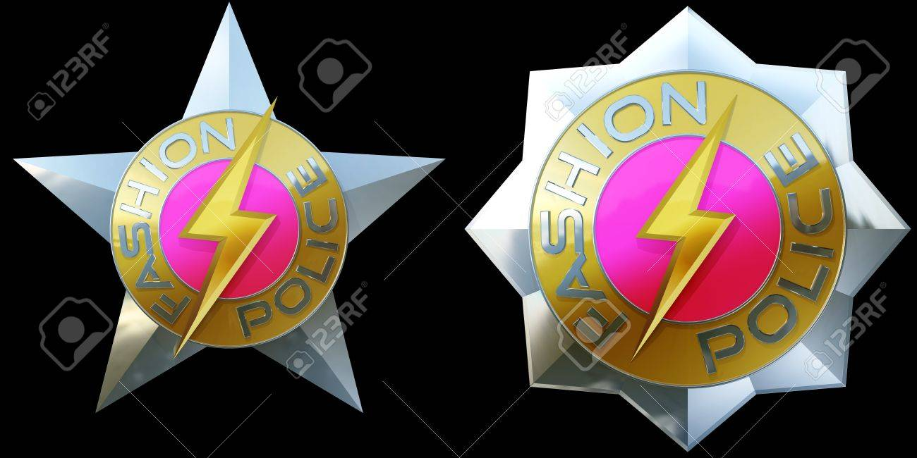 two shiny pink silver and gold fashion police badges 3d stock
