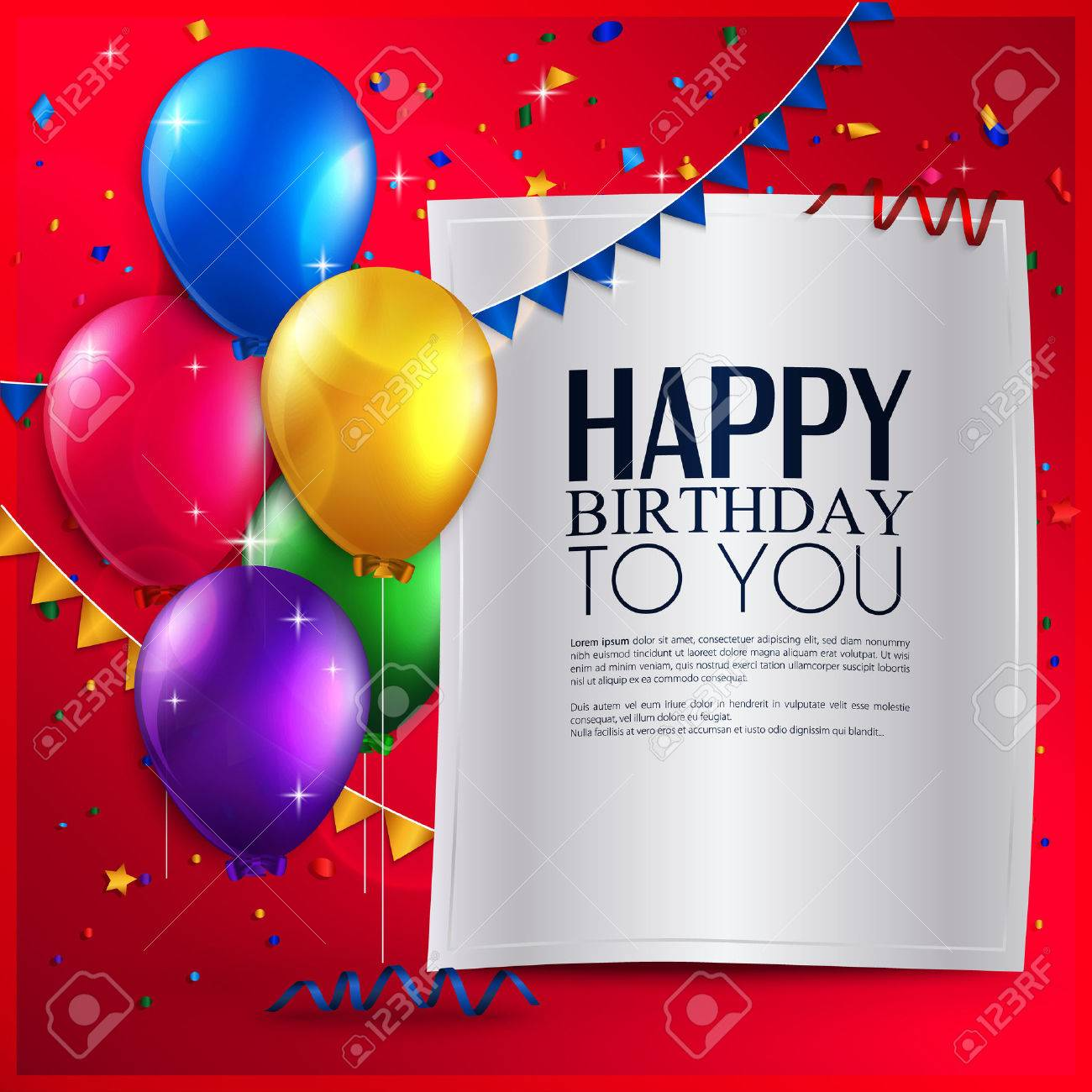 Vector Birthday Card With Balloons And Birthday Text On Red – Vector Birthday Card