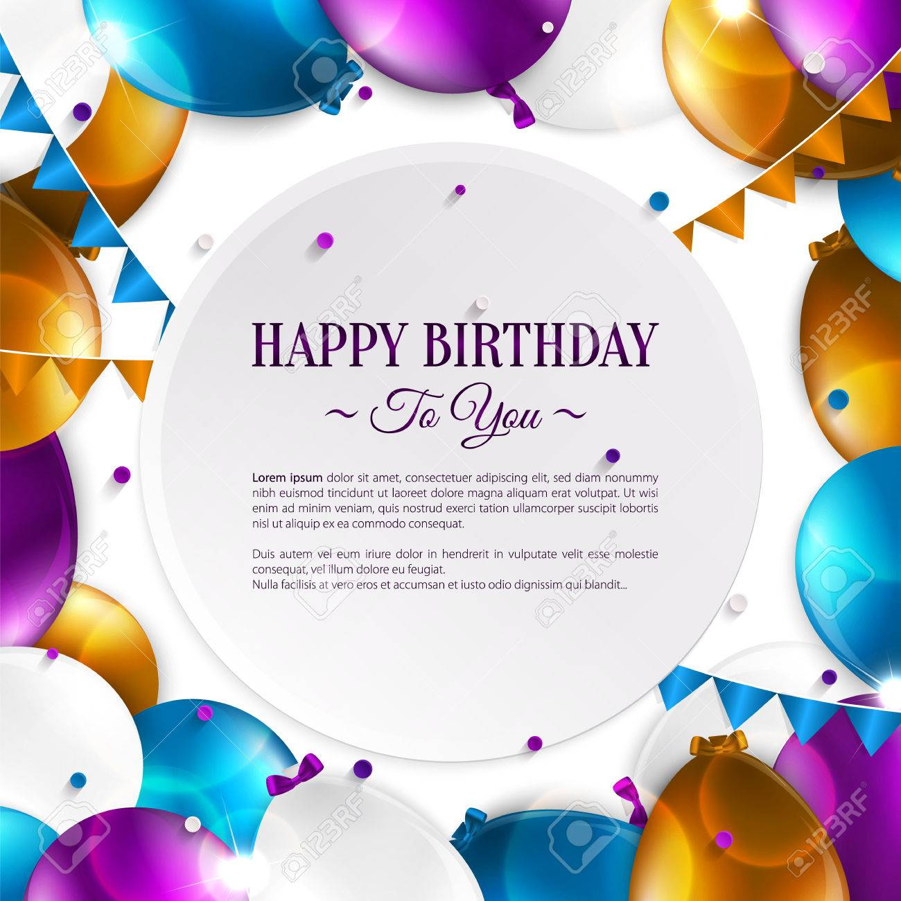Vector Birthday Card With Balloons And Birthday Text Royalty Free – Free Vector Birthday Cards