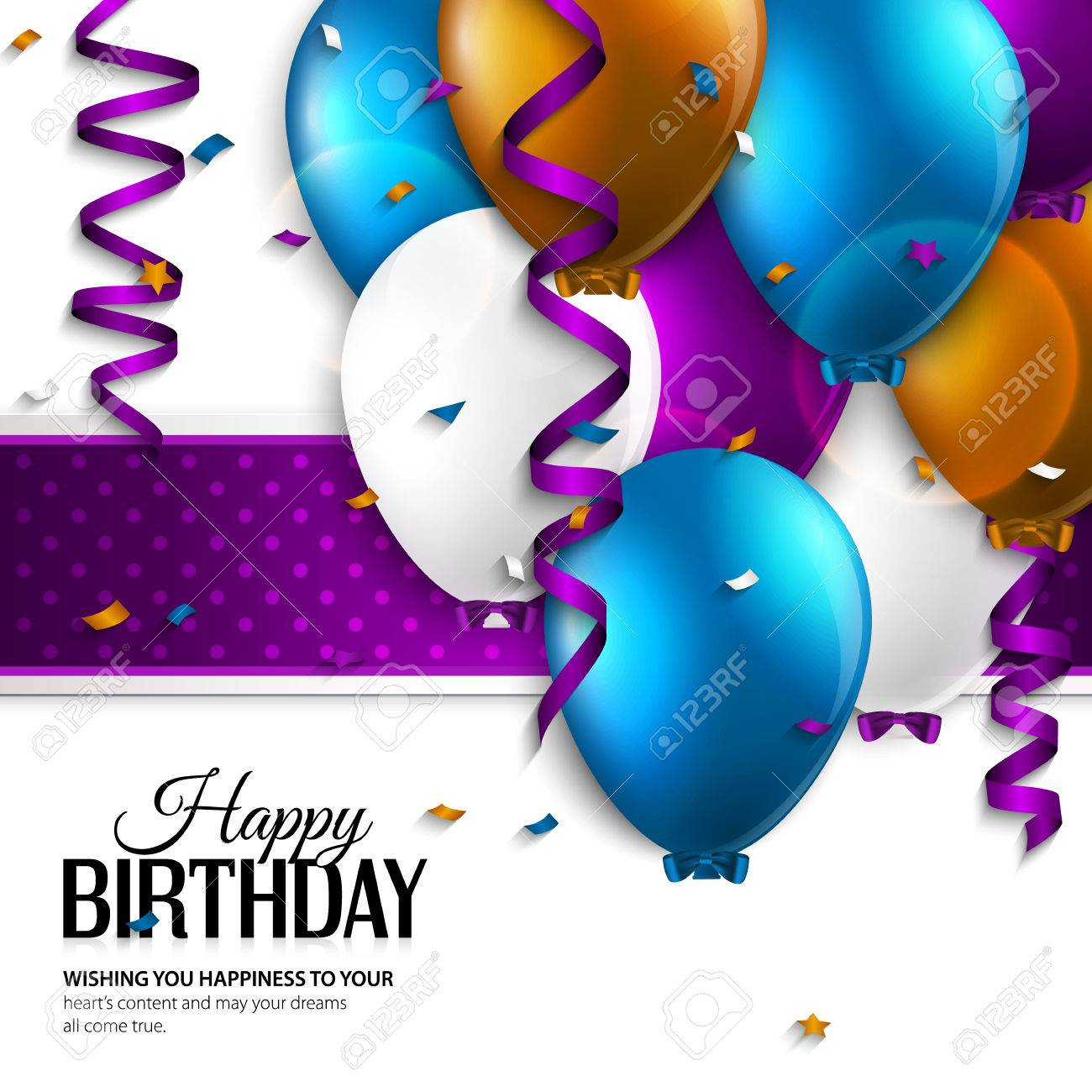 Vector Birthday Card With Balloons And Birthday Text Royalty Free – Vector Birthday Card