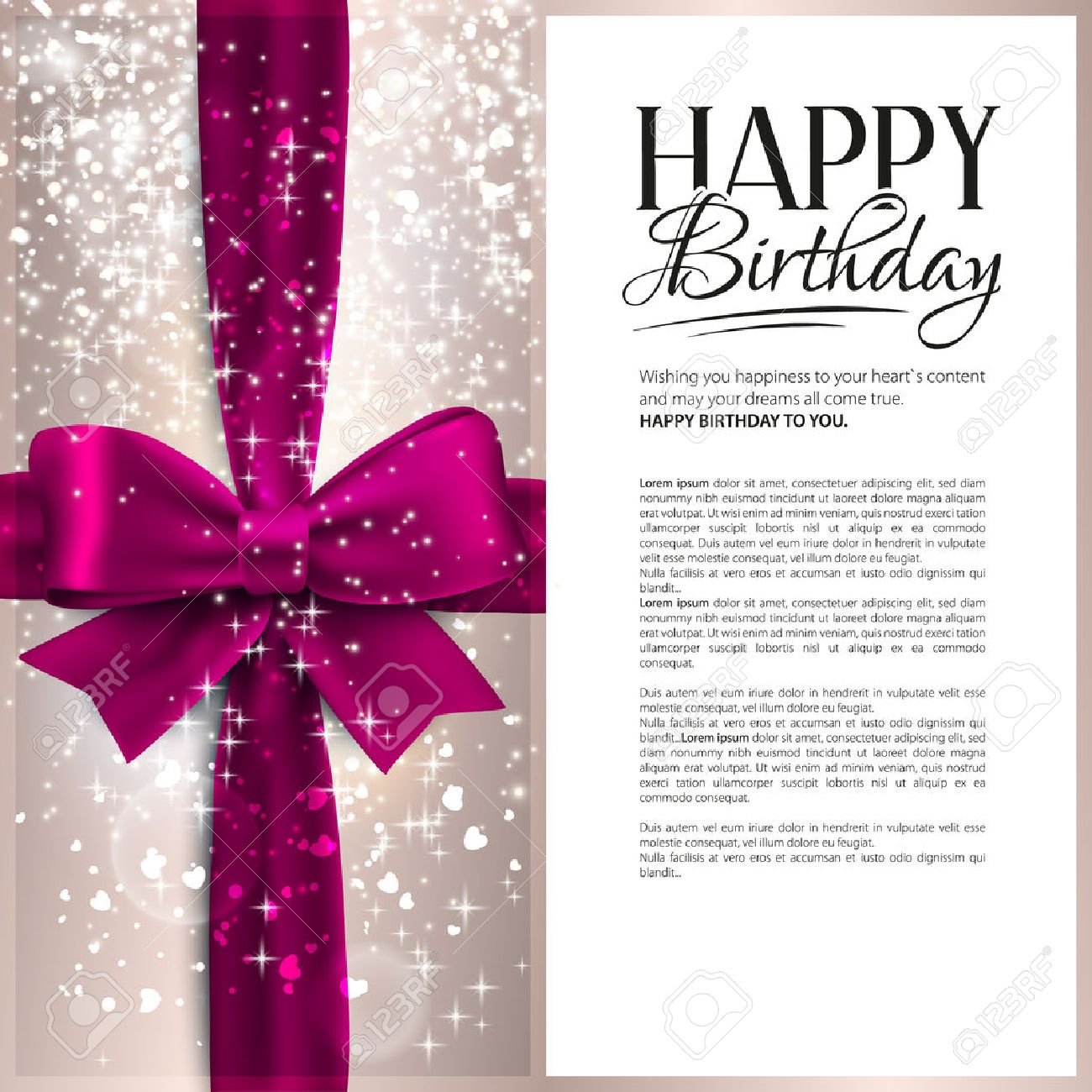 Vector Birthday Card With Pink Ribbon And Birthday Text Royalty – Vector Birthday Cards