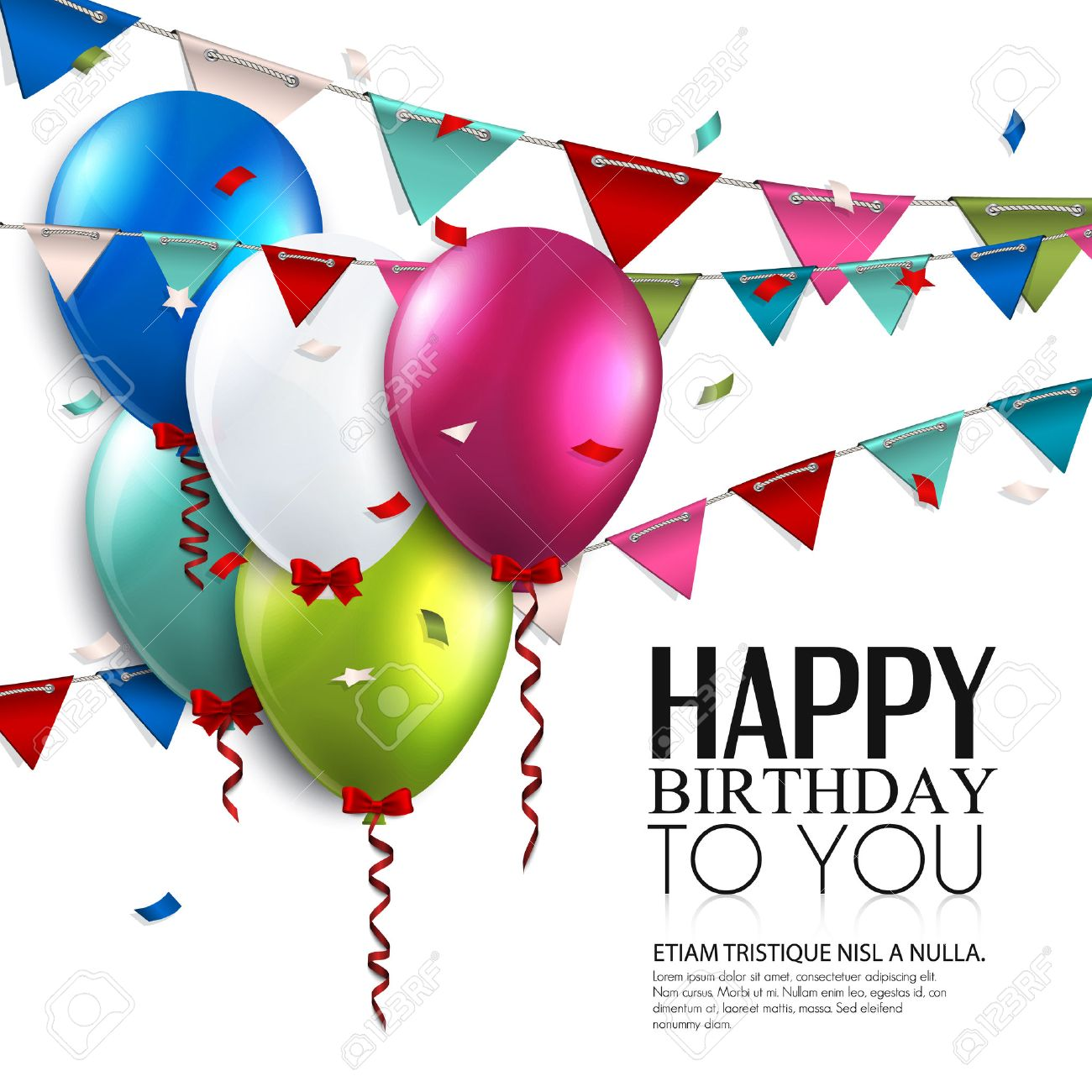 Vector Birthday Card With Balloons And Bunting Flags Royalty Free – Vector Birthday Card