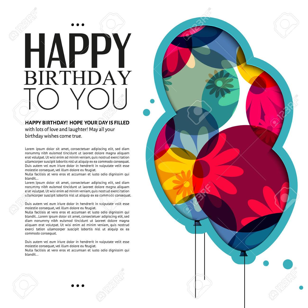 Vector Birthday Card With Color Balloons Flowers And Text Royalty – Vector Birthday Card