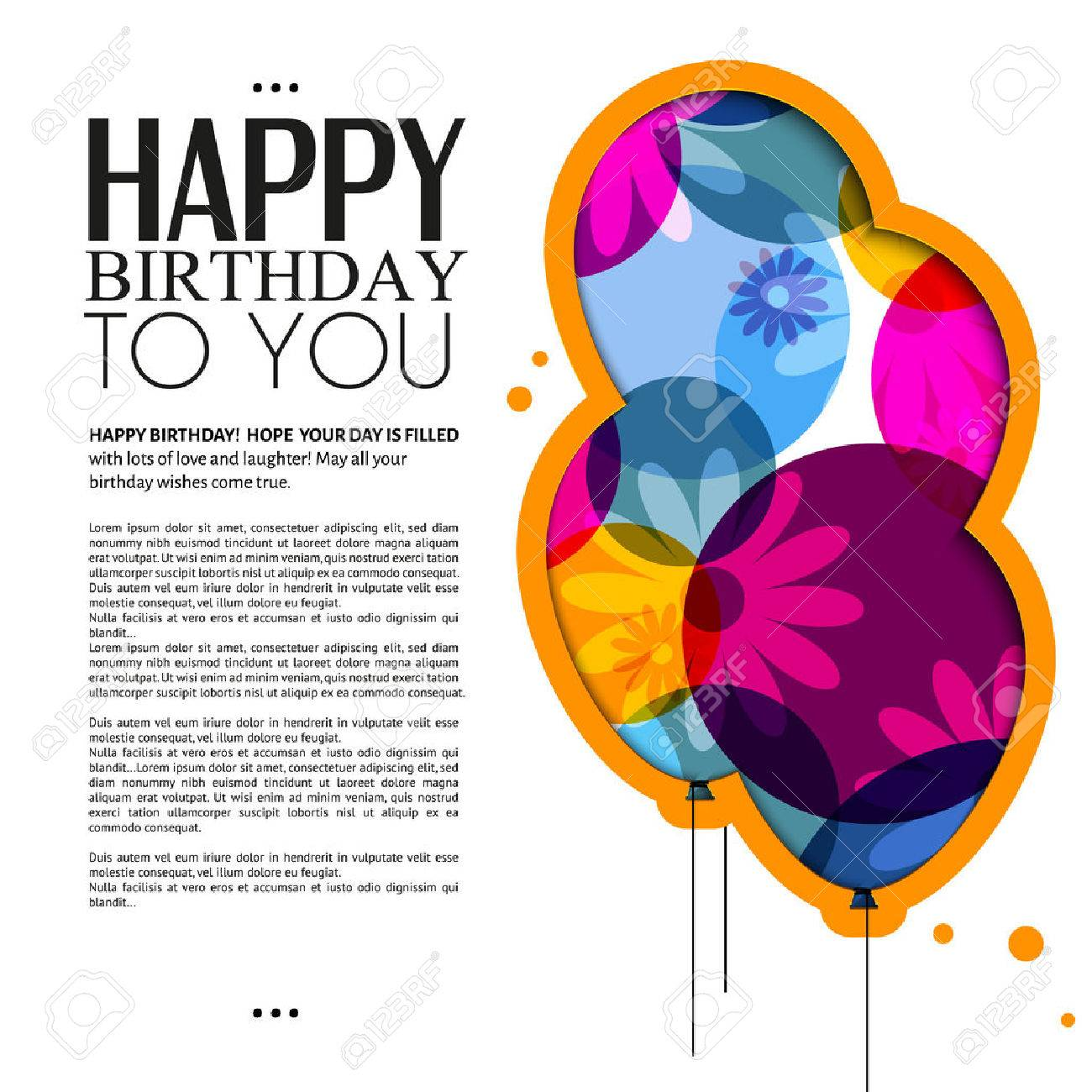 birthday card with color balloons, flowers and text - 30944781