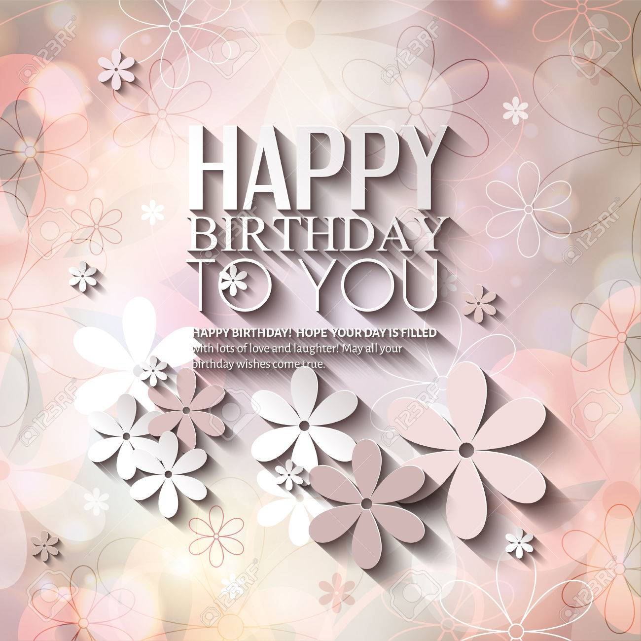 Birthday card with flowers on colorful background. - 31446735