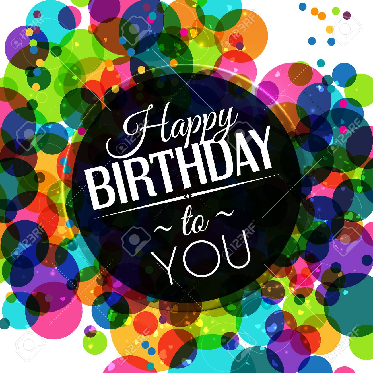 Birthday card in bright colors on polka dots background. - 31493872
