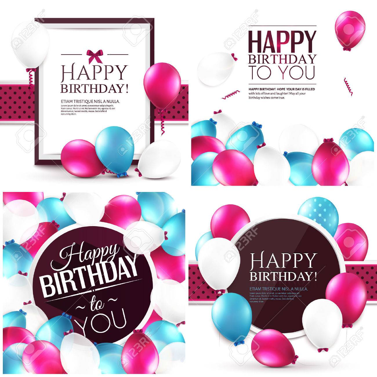 Vector illustrations. Set of colorful birthday cards. - 31621336