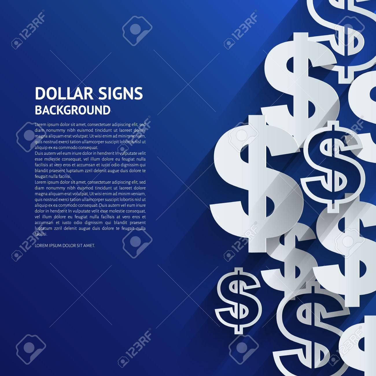 Vector illustration. Dollar signs on blue background. - 31689921