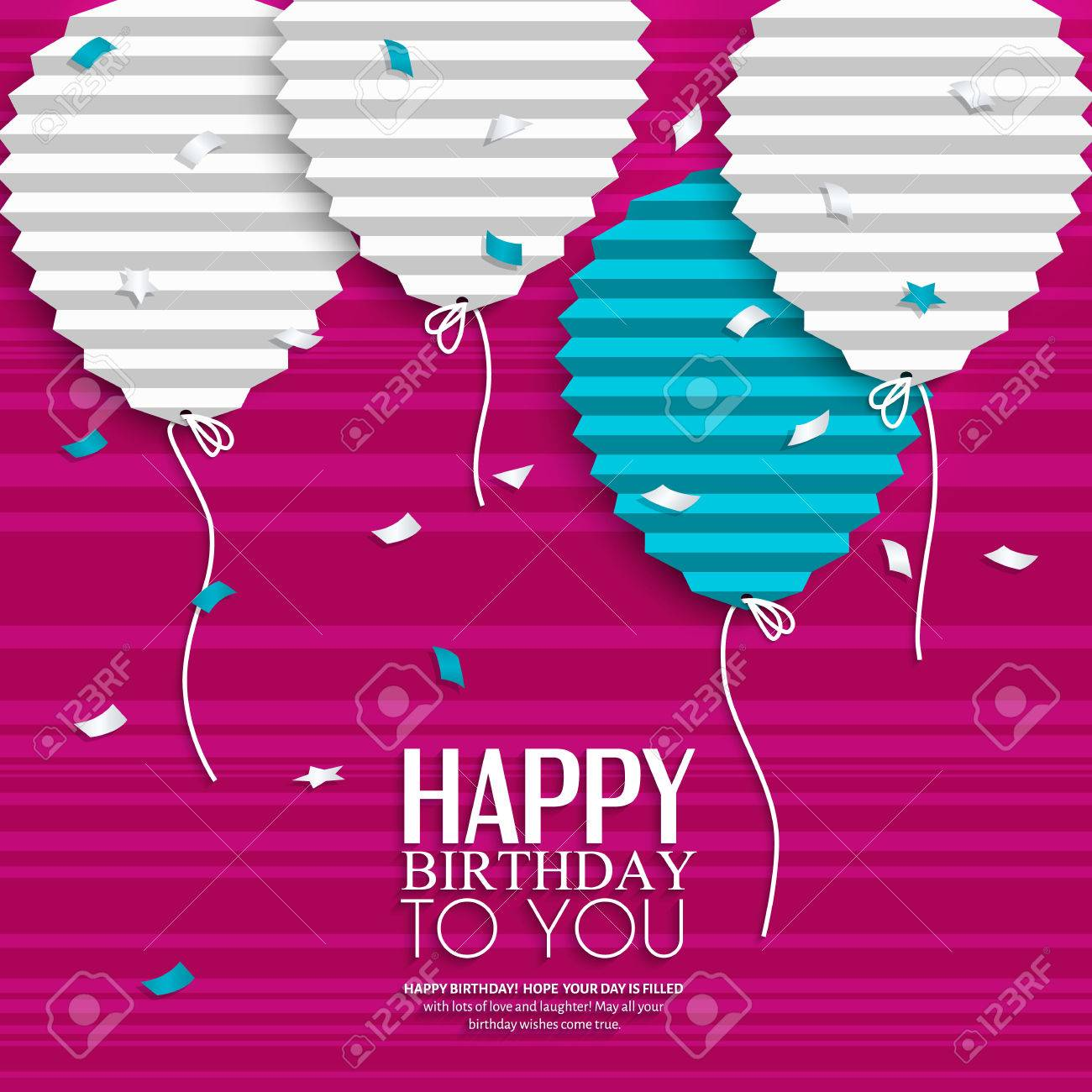 Birthday card with balloons in the style of flat folded paper. - 32387006
