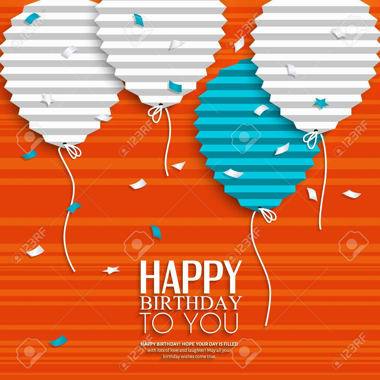 Birthday card with balloons in the style of flat folded paper. - 32387010