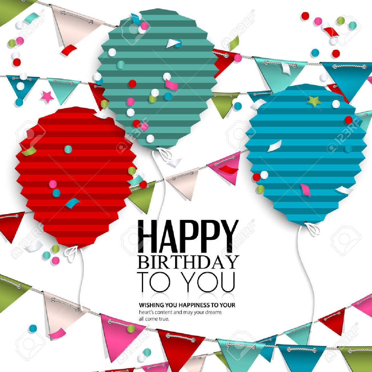 Birthday card with balloons in the style of flat folded paper. - 32387007