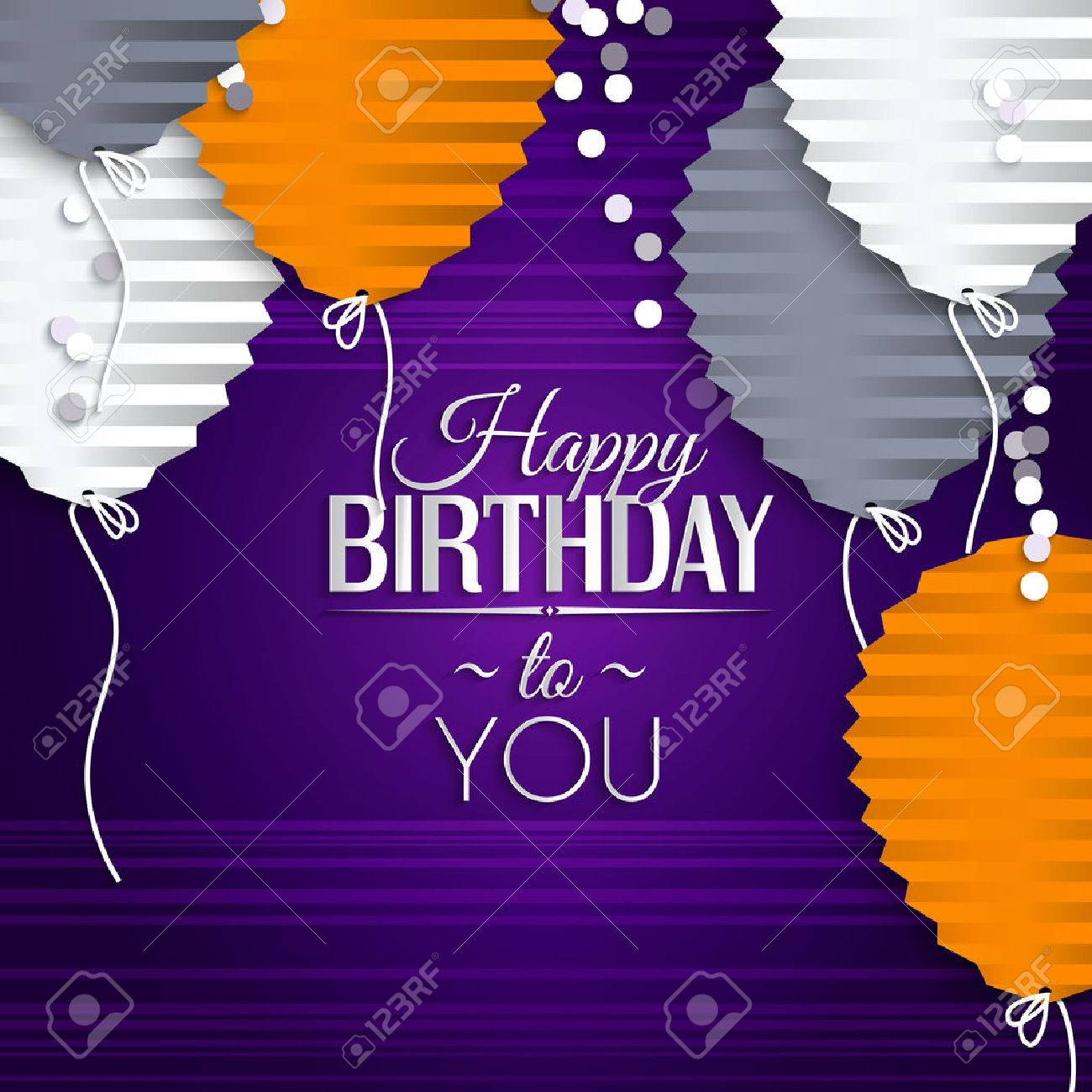 Birthday card with balloons in the style of flat folded paper. - 32561075