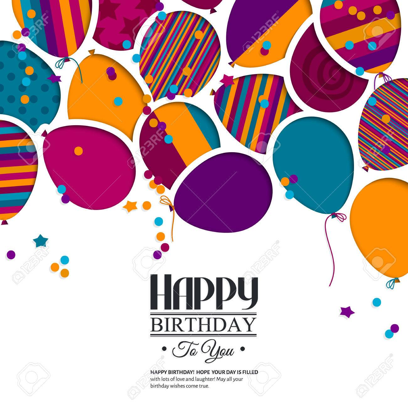 Colorful birthday card with paper balloons and wishes. - 33155600