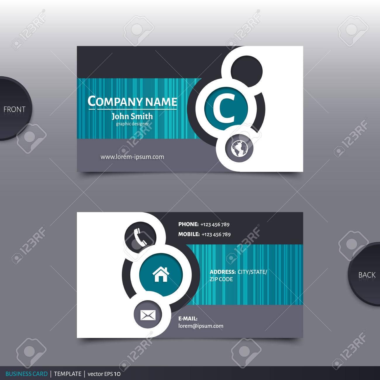 Business card template, modern abstract design. Vector. - 33444713