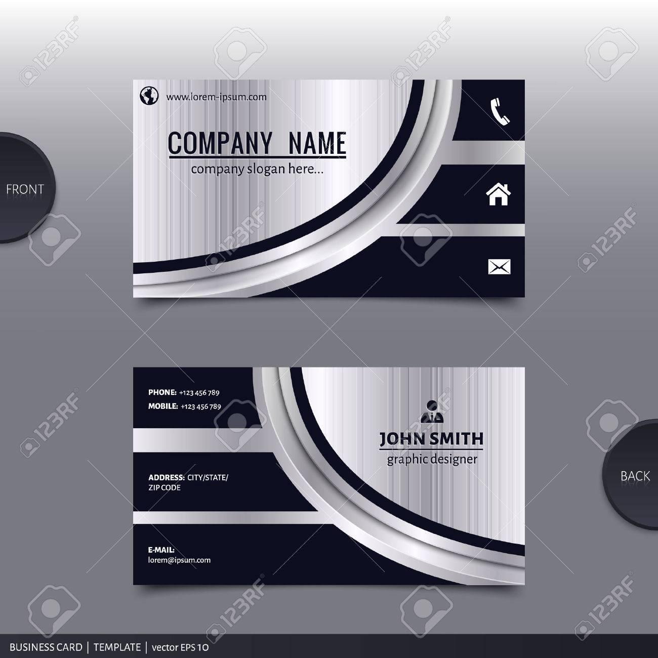 Business card template, modern abstract design. Vector. - 33676605