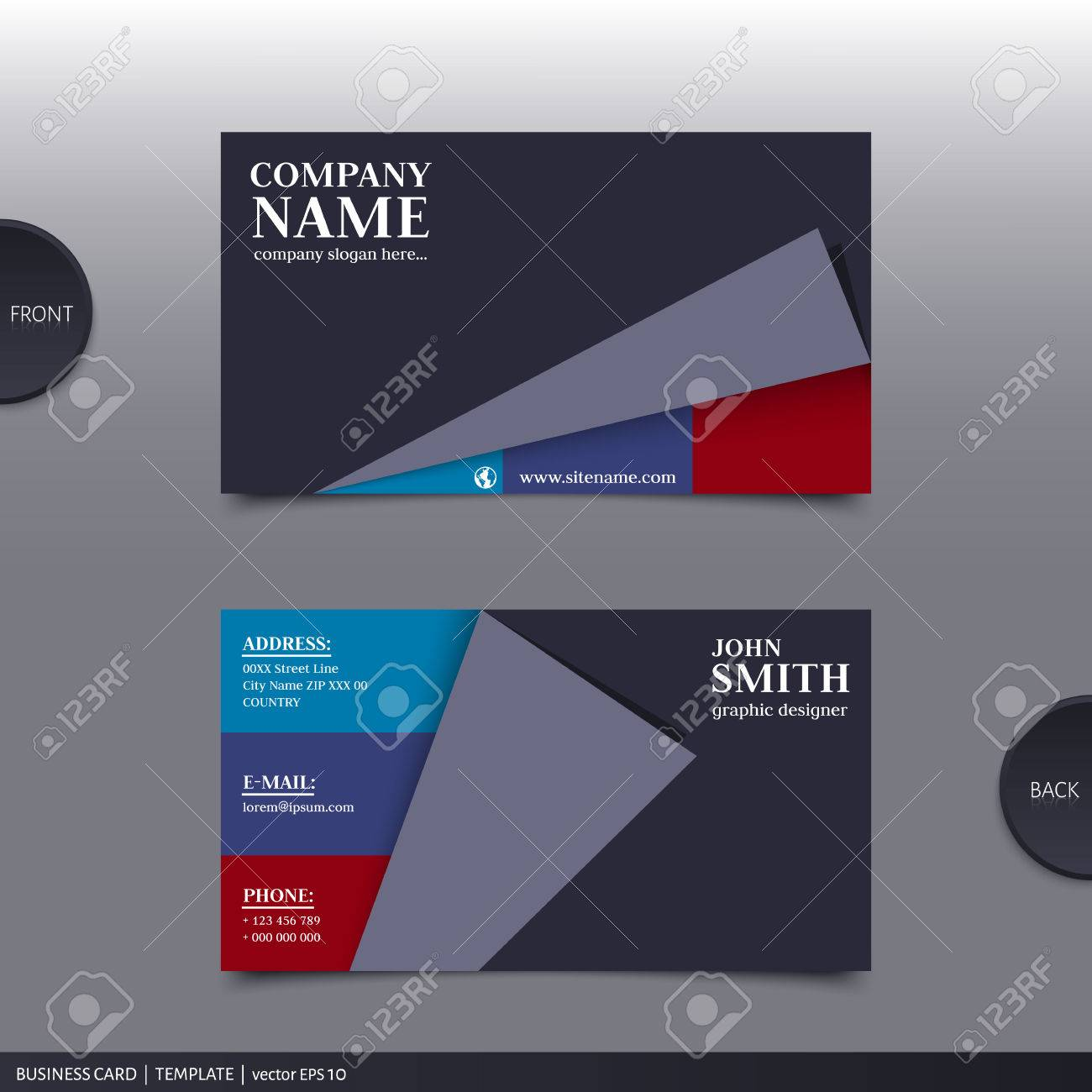 Vector abstract creative business card design template. - 34847827