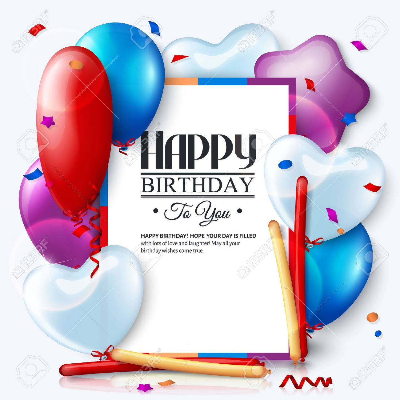 Birthday card with colorful balloons and confetti. - 35092473