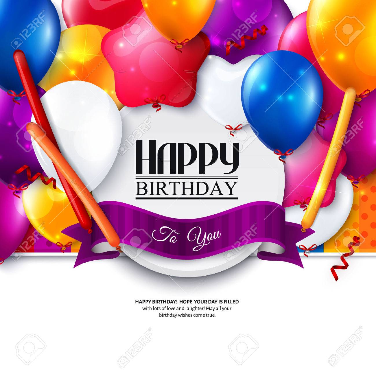 Birthday card with colorful balloons and confetti. - 35093162