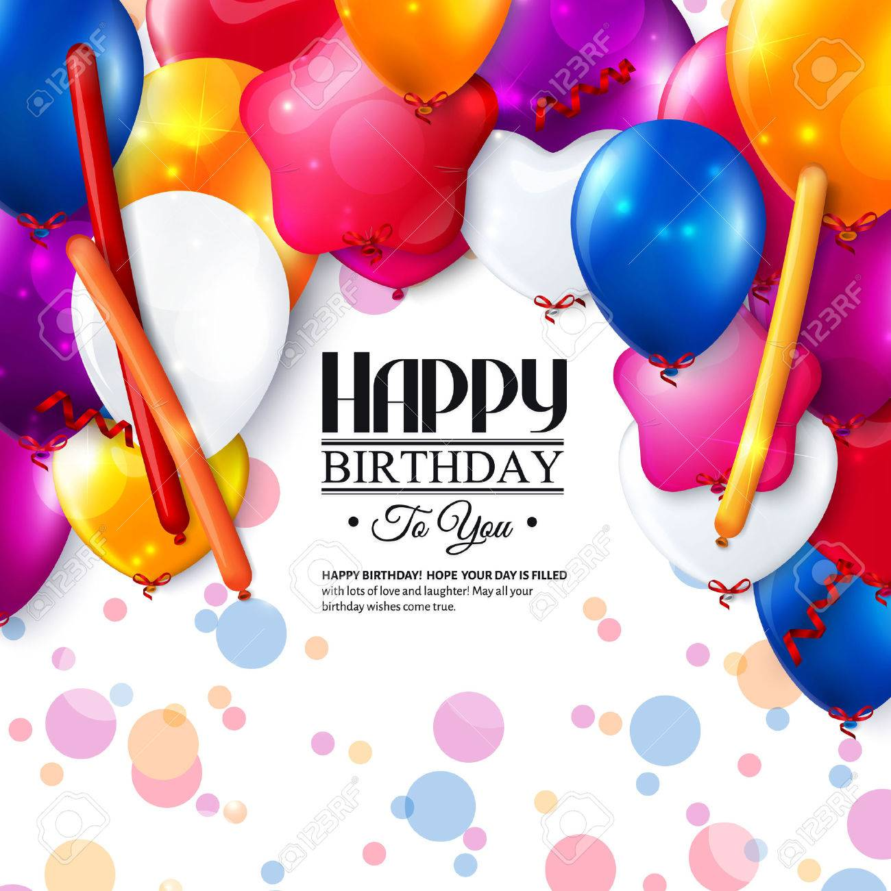 Birthday card with colorful balloons and confetti. - 35090901