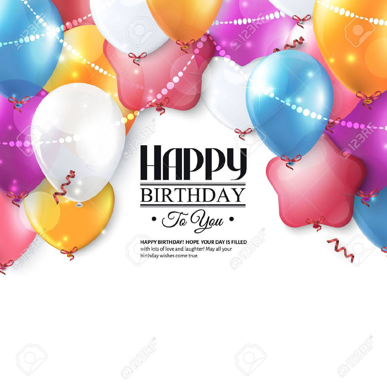 Birthday card with colorful balloons and confetti. - 35090488