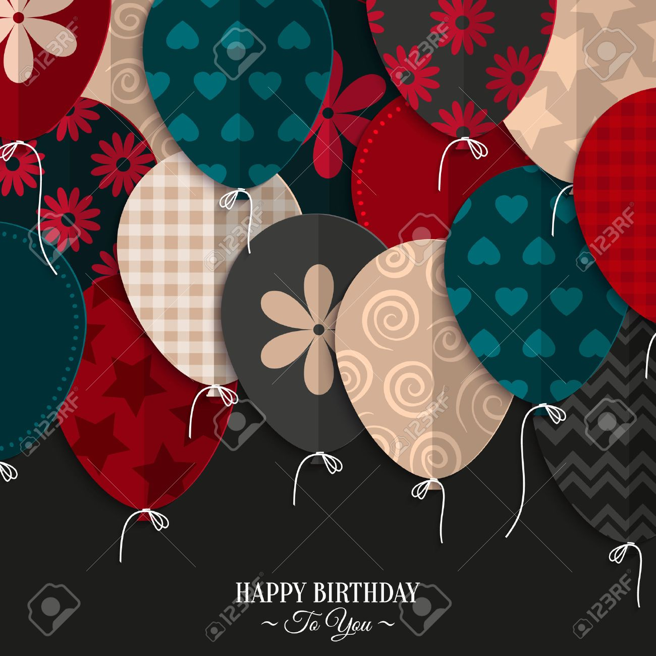 Vector birthday card with paper balloons and birthday text. - 35589919