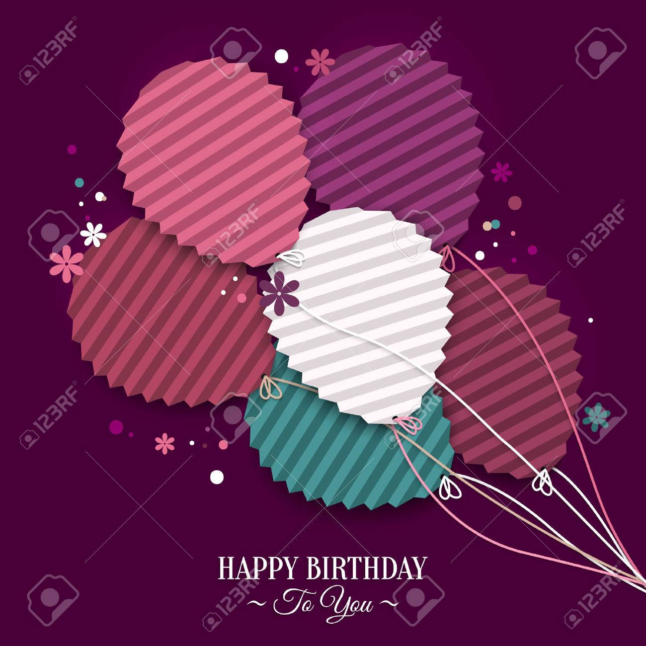 Birthday wish with balloons in the style of flat folded paper. - 35590849