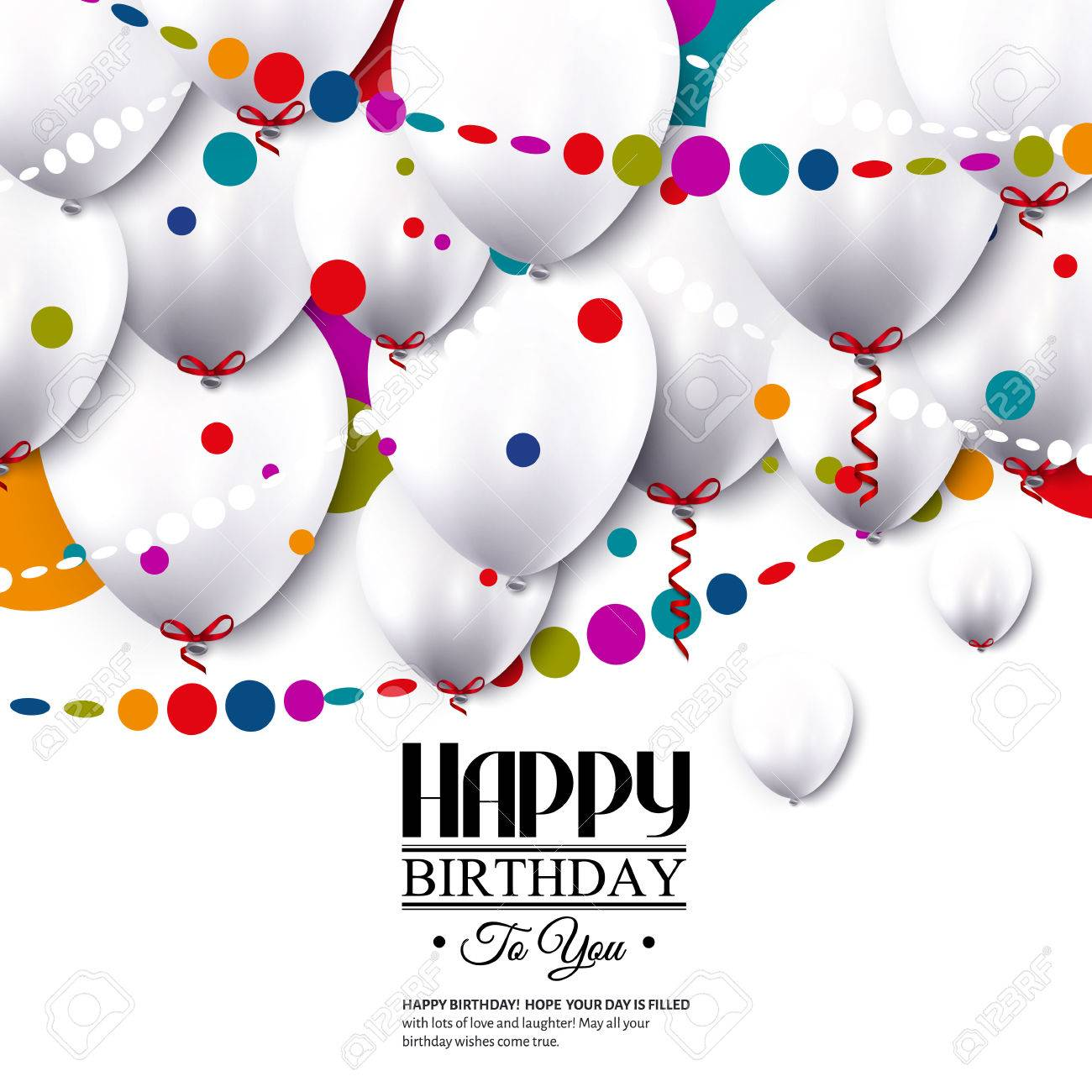 Birthday card with white balloons and confetti. - 35852912