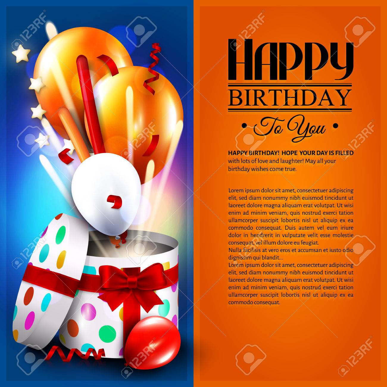 Birthday card with open gift box, balloons and magic light fireworks - 37208065