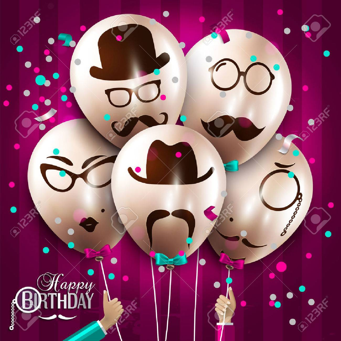Vector birthday card. Balloons with silhouettes on hipster style. Mustaches. - 39373660