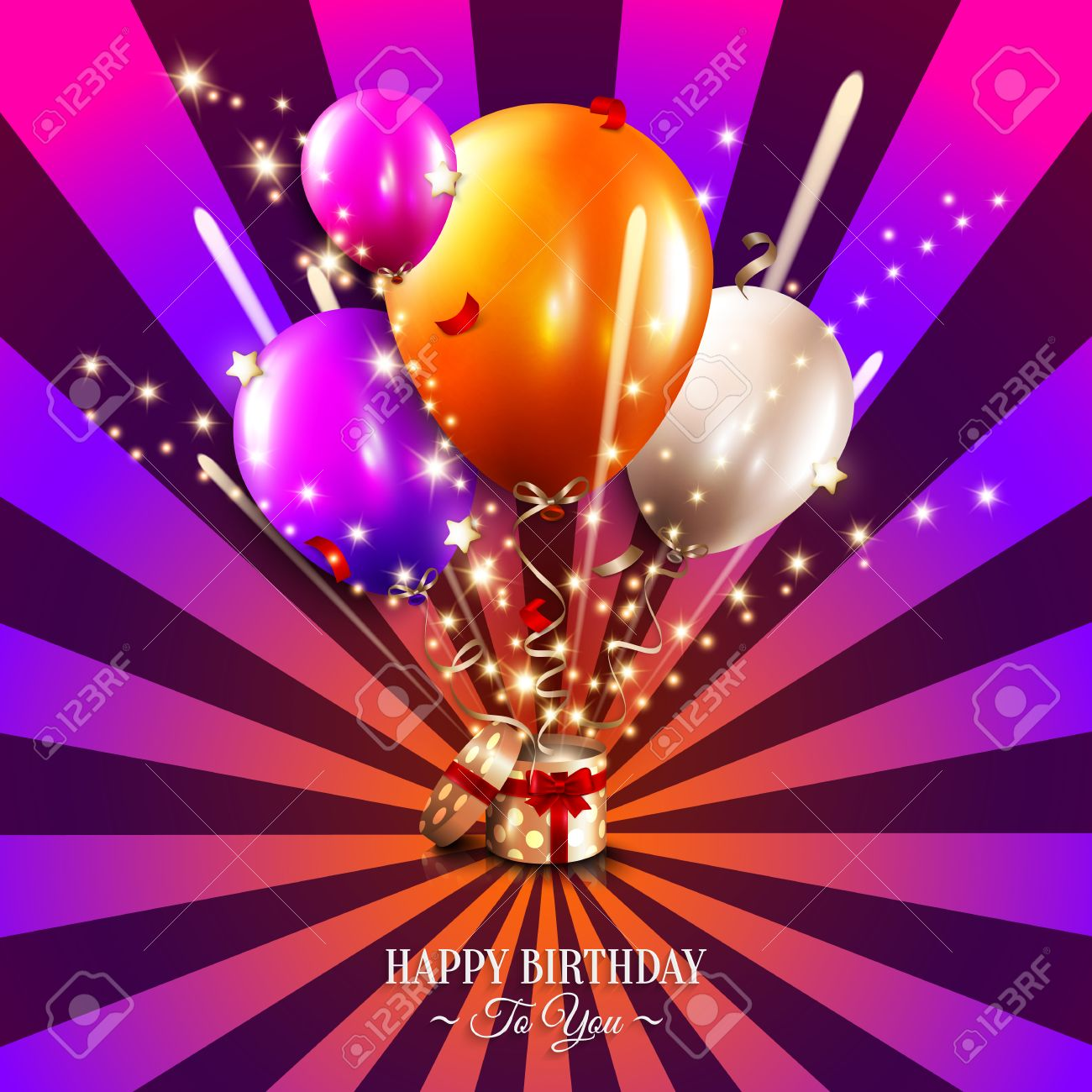 Birthday card with open gift box, balloons and magic light fireworks on the sun rays background. - 39374305
