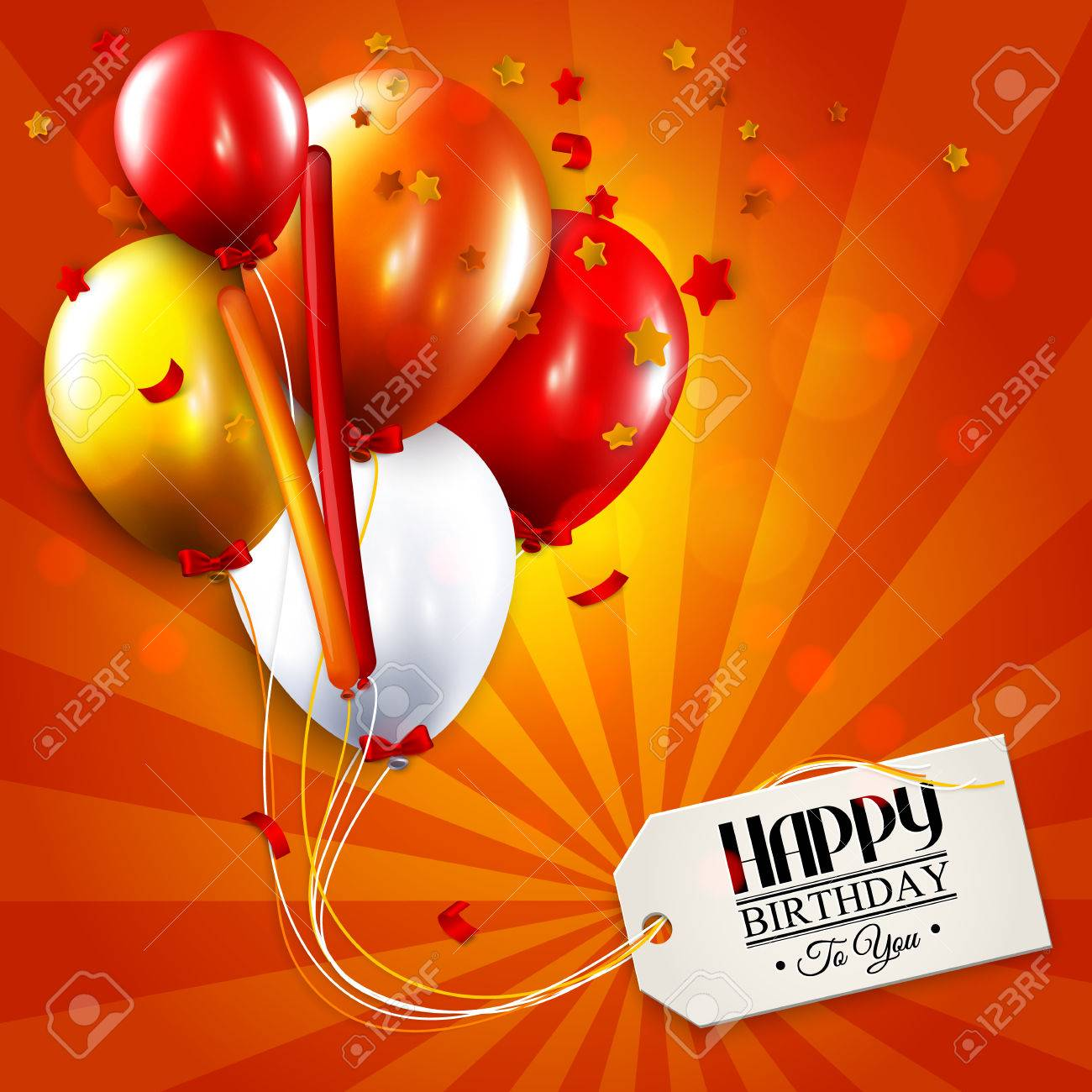Vector birthday card with balloons, confetti and tag for your text. - 39785043