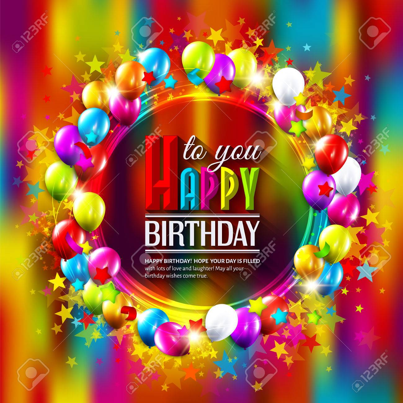 Vector birthday card with stars, balloons and confetti on multicolored background. - 40381281