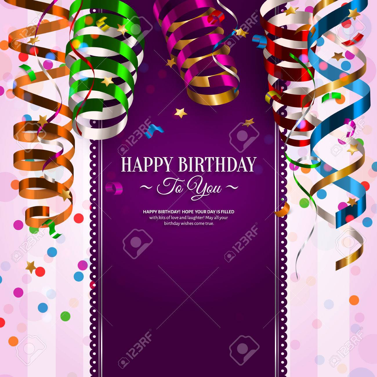 Vector birthday card with colorful curling ribbons, streamers. - 40976998