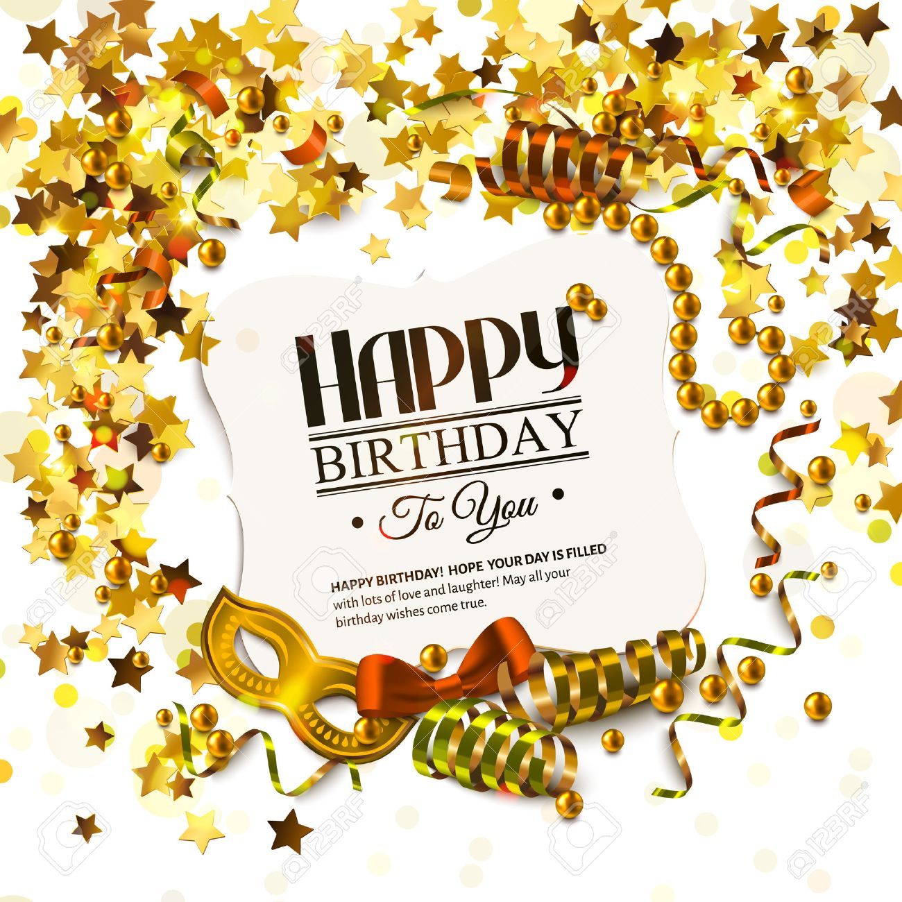 Vector Birthday Card With Golden Stars And Pearls Curling Ribbons – Vector Birthday Card
