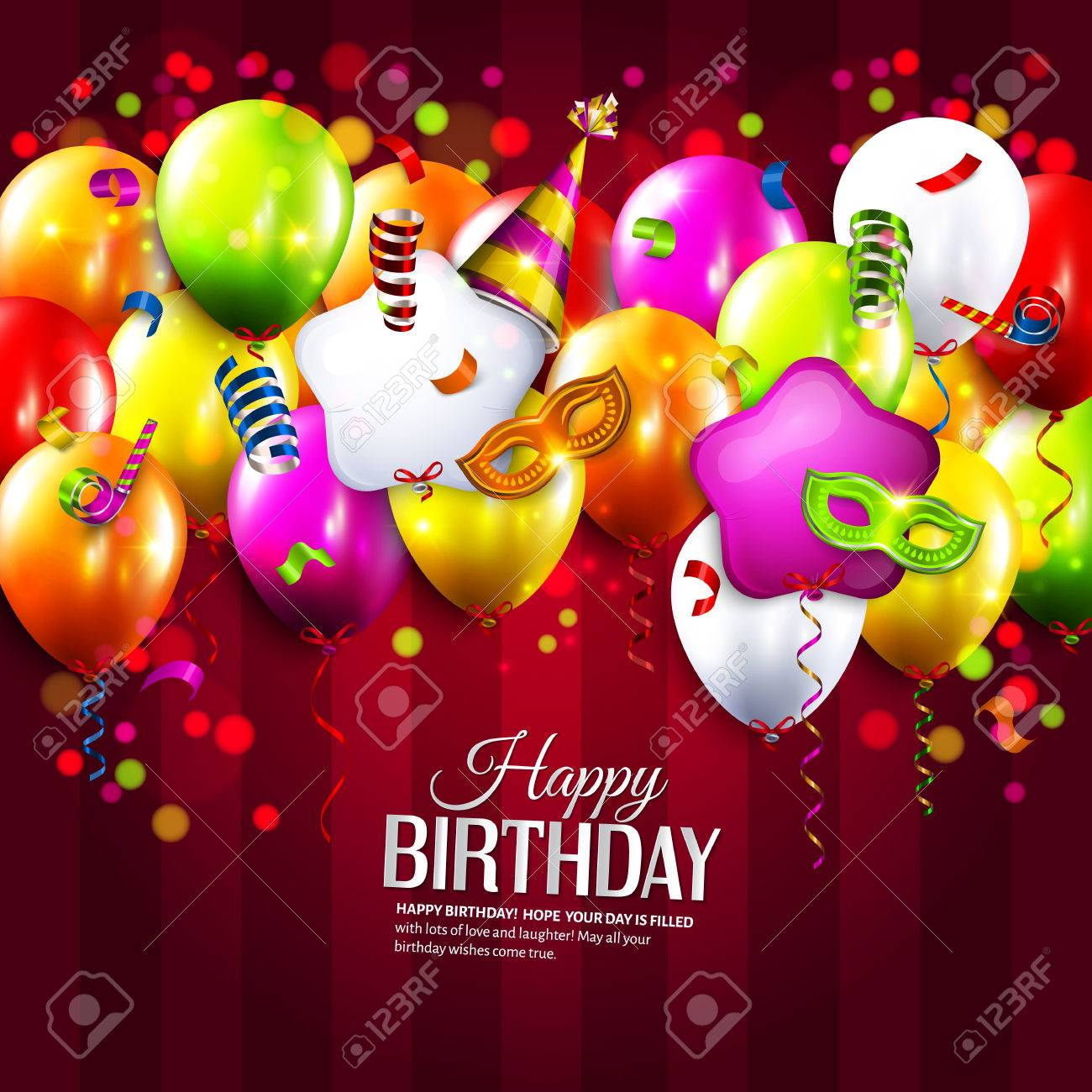 Vector birthday card with colorful balloons, curling ribbons, carnival mask, hat and confetti on stripes background. - 41658840