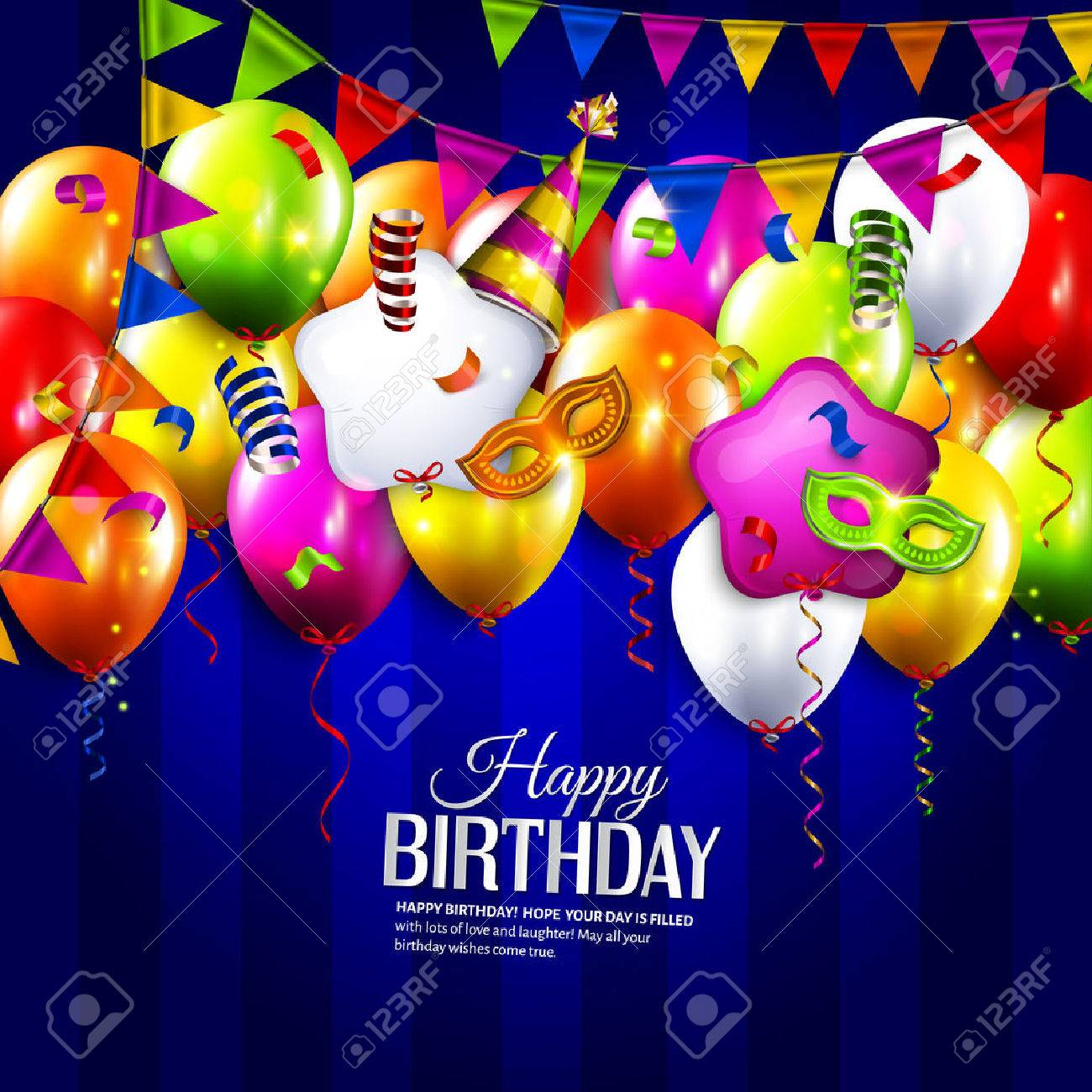 Vector birthday card with colorful balloons, bunting flags, curling ribbons, carnival mask, hat and confetti on stripes background. - 41659079