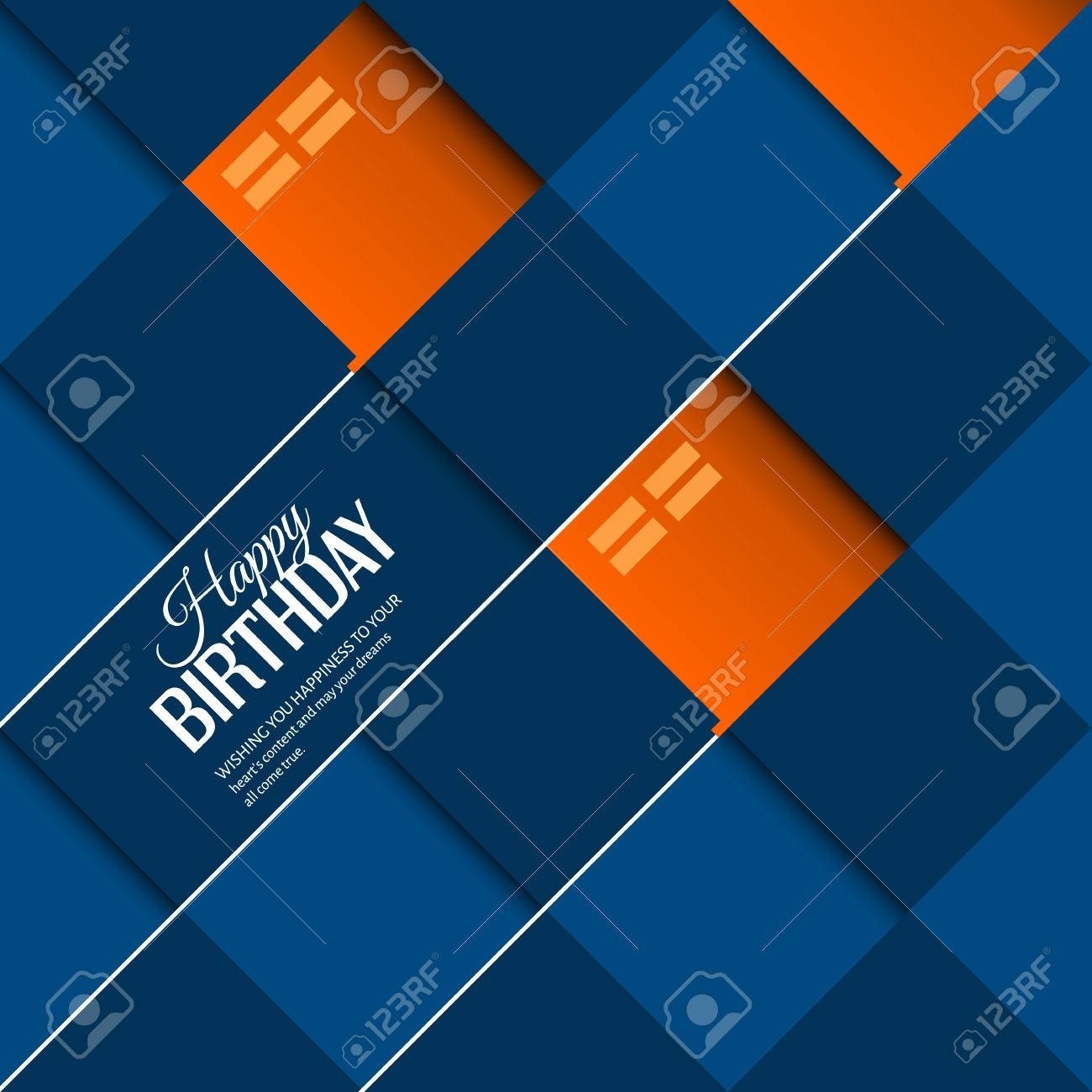 Vector abstract birthday card orange balloons on square blue background. - 43550556