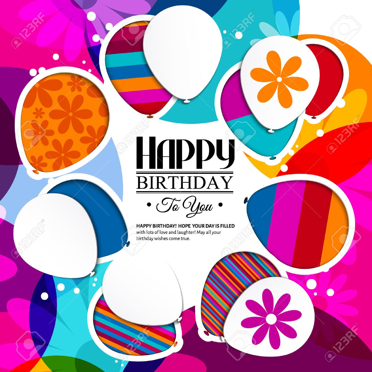 Vector birthday card with paper balloons in the style of cutouts on colorful background. - 43699773